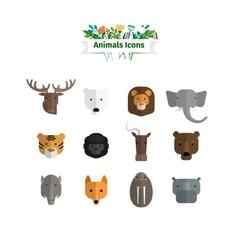 Wild animals faces flat avatars set vector