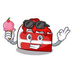 With ice cream red velvet character cartoon vector