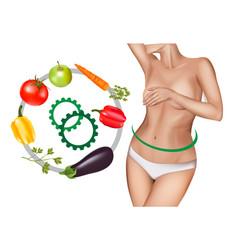 Woman with health intestine vector