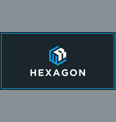 Wr hexagon logo design inspiration vector