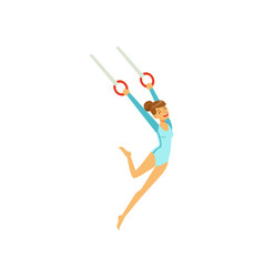Young girl doing exercises using flying rings vector