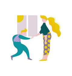 young man and woman giving five to each other in vector image