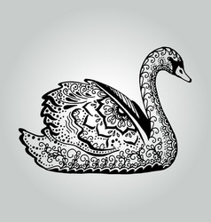 abstract doodle swan wildlife collection vector image
