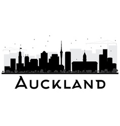 Auckland city skyline black and white silhouette vector