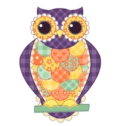 Colored isolated patchwork owl vector image vector image
