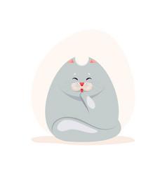 cute fatty grey cat washing the vector image