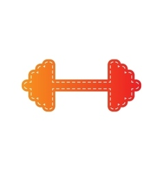 Dumbbell weights sign Orange applique isolated vector image vector image