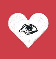 eye symbol inside the heart romance symbol vector image vector image
