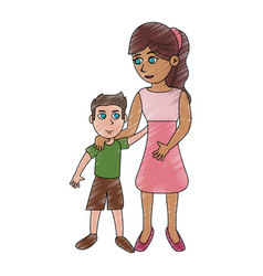 mom and son cartoon vector image vector image