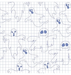 Seamless pattern with ghosts in notebook Print vector image