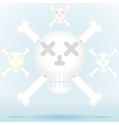 Skull and crossbones icon style in different color vector image
