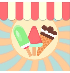 Ice Cream Placard the sun and sky on the backgroun vector image vector image