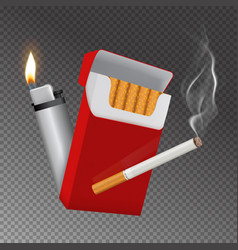 realistic cigarette pack and lighter composition vector image vector image