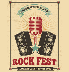 rock festival vintage poster rock and roll vector image
