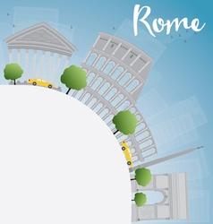 Rome skyline with grey landmarks vector image