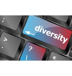 A computer keyboard with keys spelling diversity vector image