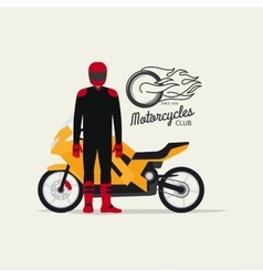 Biker with motorcycle in flat style vector image