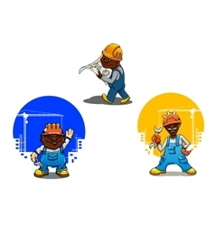 Cartoon builder bricklayer and engineer vector image vector image
