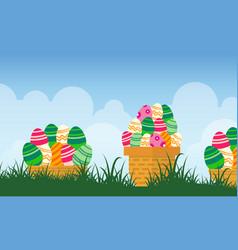 easter egg on basket landscape vector image
