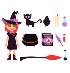 little witch girl vector image vector image
