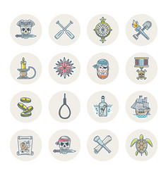pirates line icons set vector image vector image
