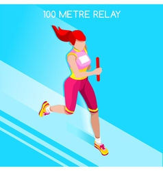 Running Relay 2016 Summer Games Isometric 3D vector image