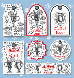 hand drawn mulled wine gift tags set black vector image vector image