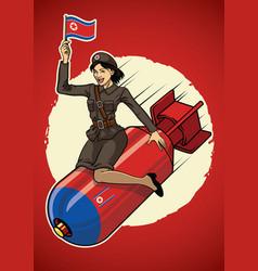 north korea pin up girl ride a nuclear bomb vector image vector image