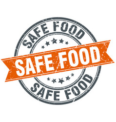 Safe food round orange grungy vintage isolated vector