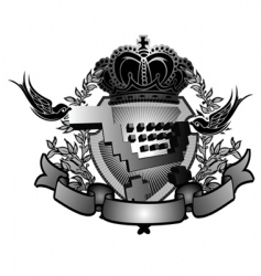 shopping cart heraldry sign vector image