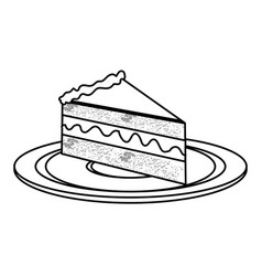 Silhouette dish with piece of cake with cream vector