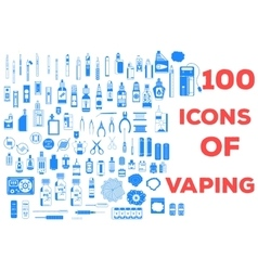 100 icons of vaping vector