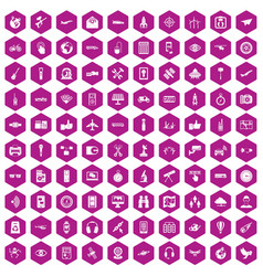 100 wireless technology icons hexagon violet vector