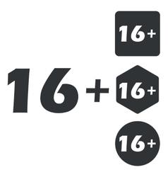 16 plus icon set monochrome vector image