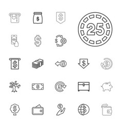 22 currency icons vector