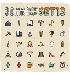 30 Colorful Doodle Icons Set 13 vector image