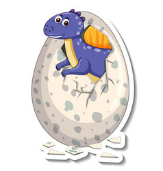 A sticker template with baby dinosaur hatching vector