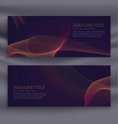 Abstract dark banners with colorful shiny wave vector