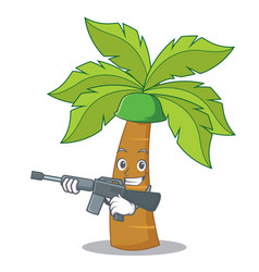 Army palm tree character cartoon vector