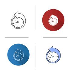 Back arrow around clock icon vector