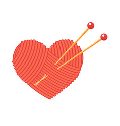 ball of yarn in the shape of a heart vector image