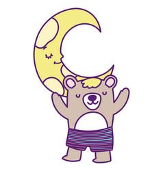 bashower cute bear with short pants half moon vector image