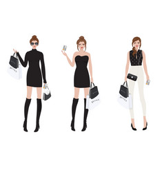 beautiful wealthy girl shopping brand name using vector image