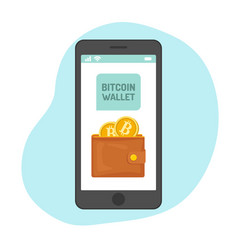 bitcoin wallet with golden coins in smartphone vector image