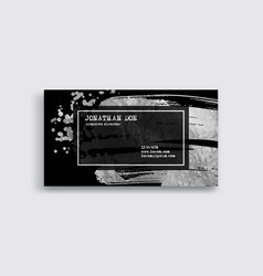 black and silver business card template vector image