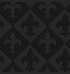 Black textured plastic Fleur-de-lis on diamonds vector