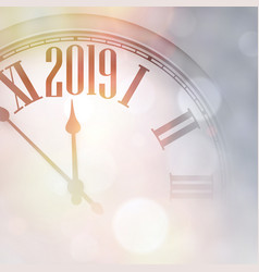 blurred 2019 new year background with clock vector image