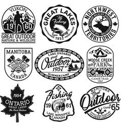 canada outdoor adventure stickers and patches vector image