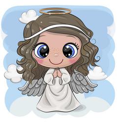Cartoon christmas angel on a blue background vector