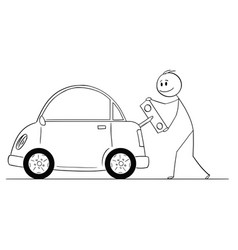 cartoon of happy man winding up or charging vector image